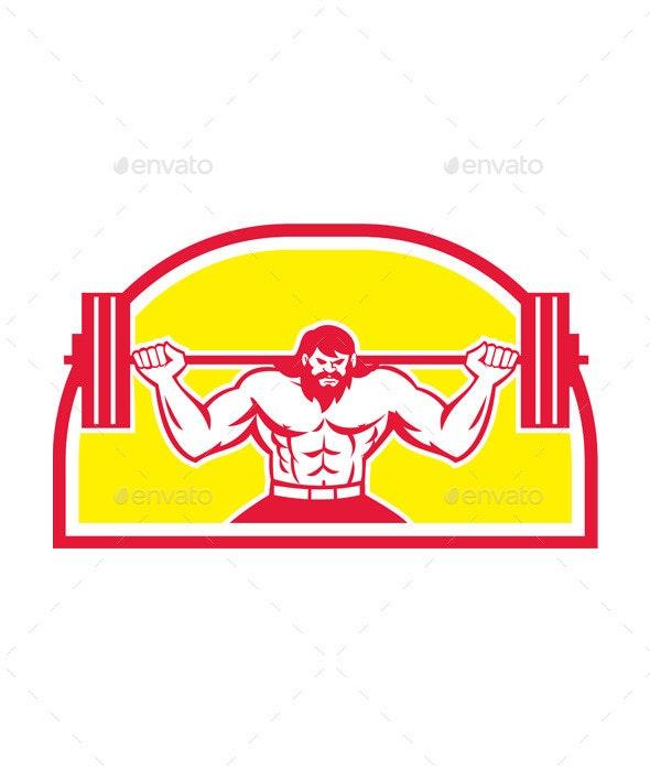 Bodybuilder Lifting Barbell Retro - Sports/Activity Conceptual