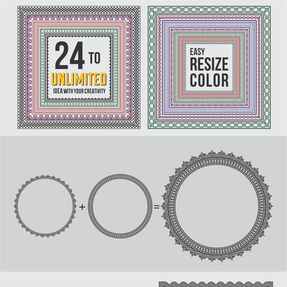 24 Borders Cycle Patterns Brushes for Illustrator