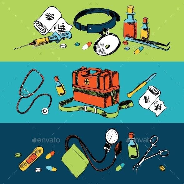 Medicine Sketch Icons Color Set - Health/Medicine Conceptual