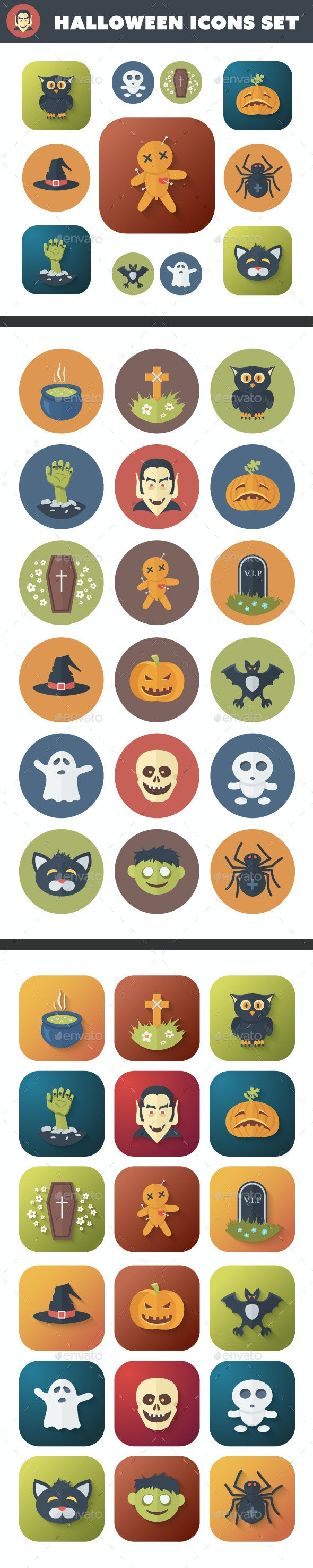 Halloween Flat Icons Set - Monsters Characters