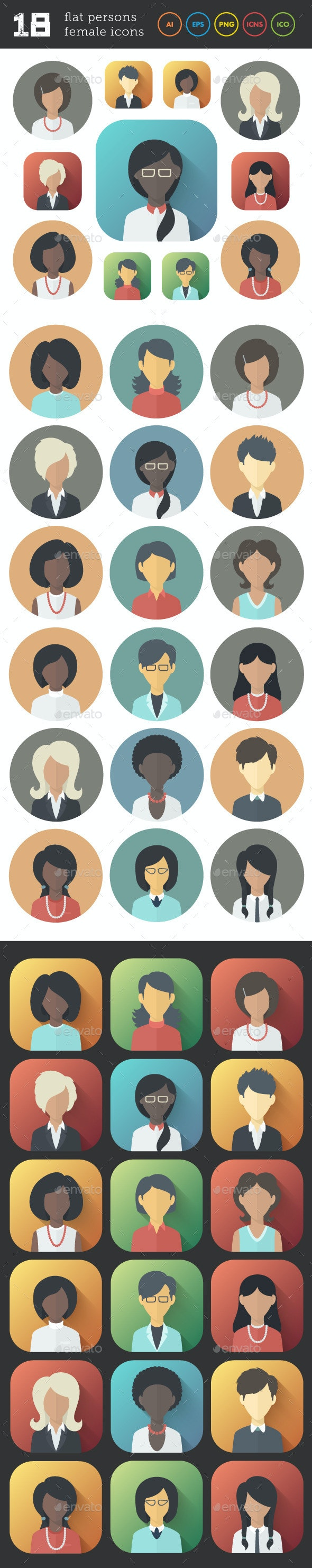 Flat Icons Set of Female Persons - People Characters