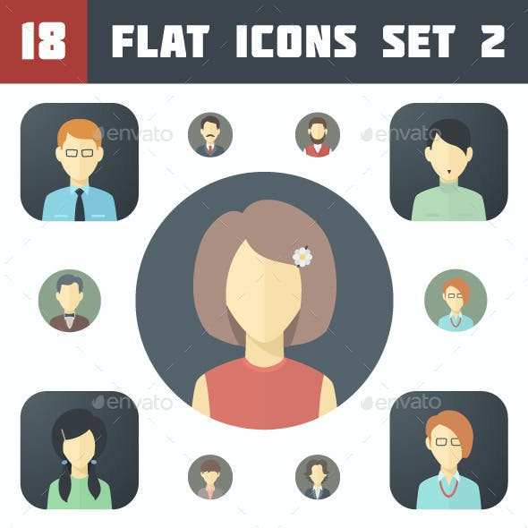 Minimalistic Flat Faces Icons Set 2