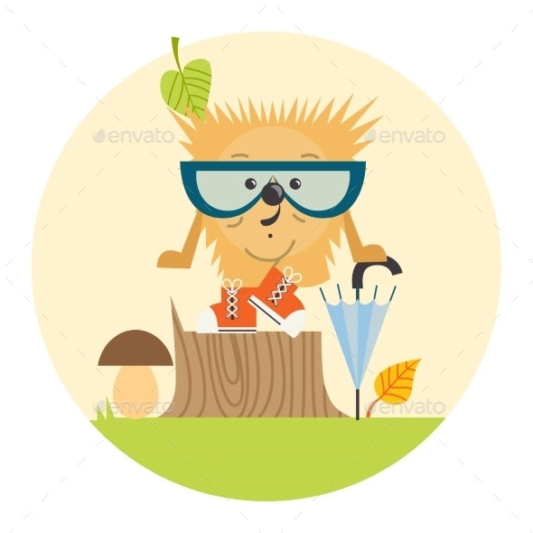 Cartoon Hedgehog Hipster Style - Seasons Nature