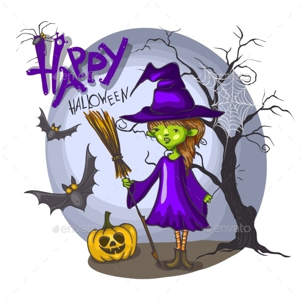 Cartoon Witch Girl with Bat, Broom and Pumpkins - Halloween Seasons/Holidays