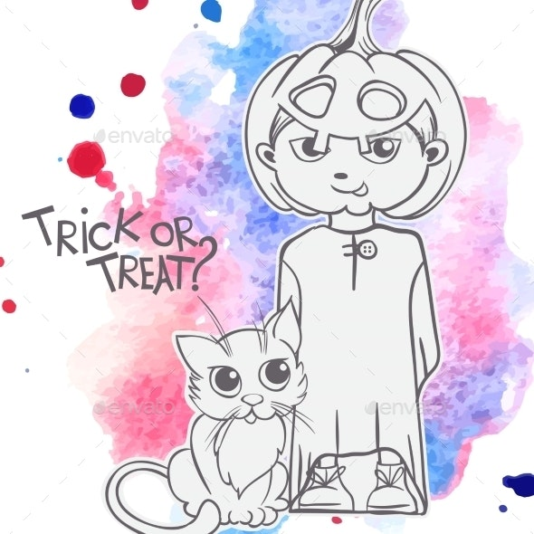 Cat and Pumpkin Costume - Halloween Seasons/Holidays