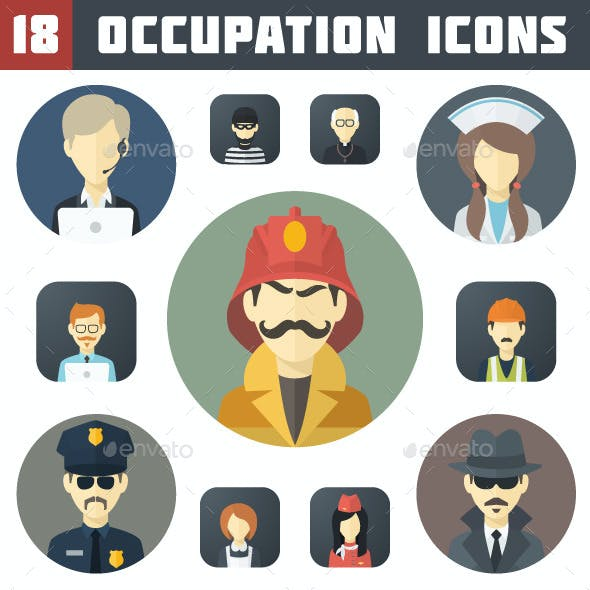 Flat Occupation Icons Set