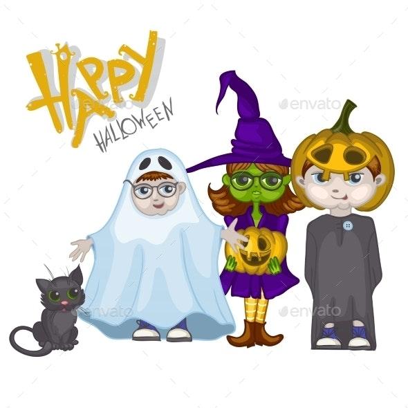 Halloween Children Trick or Treating - Halloween Seasons/Holidays