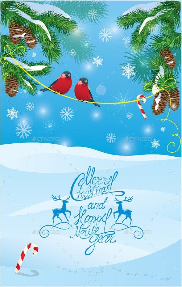 Card with Fir Tree Branches and Bullfinch Birds  - Christmas Seasons/Holidays