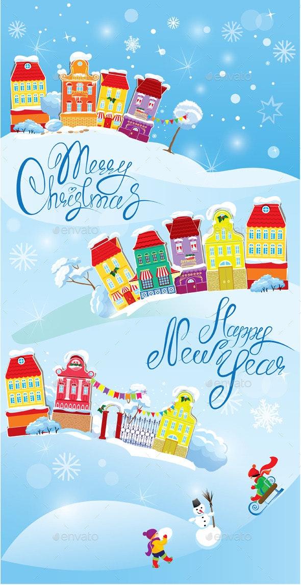 Card with Small Fairy Town  - Christmas Seasons/Holidays