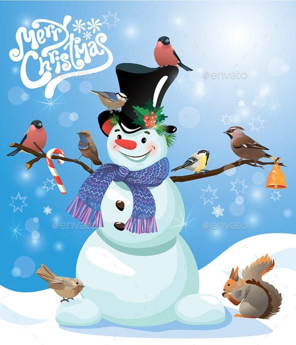 Card with Snowman and Birds  - Christmas Seasons/Holidays
