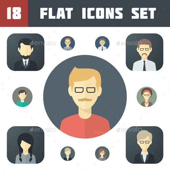 Minimalistic Flat Persons Icons Set 1