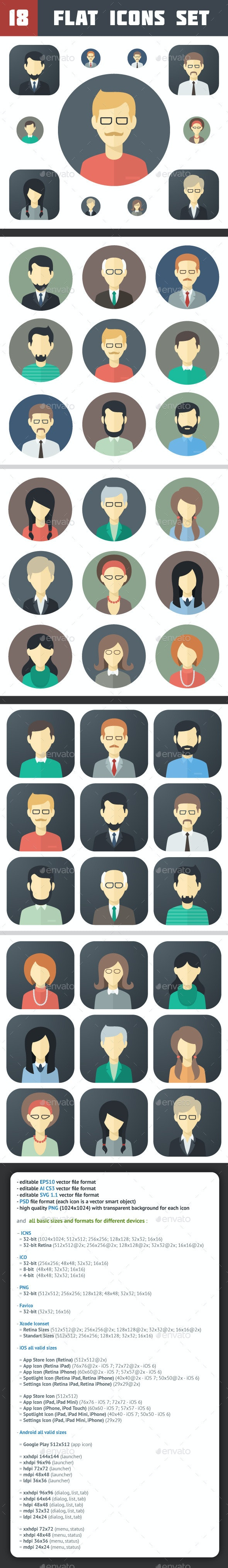 Minimalistic Flat Persons Icons Set 1 - People Characters