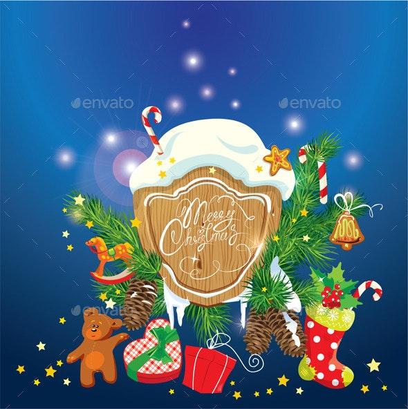 Card with Xmas Gifts and Presents  - Christmas Seasons/Holidays
