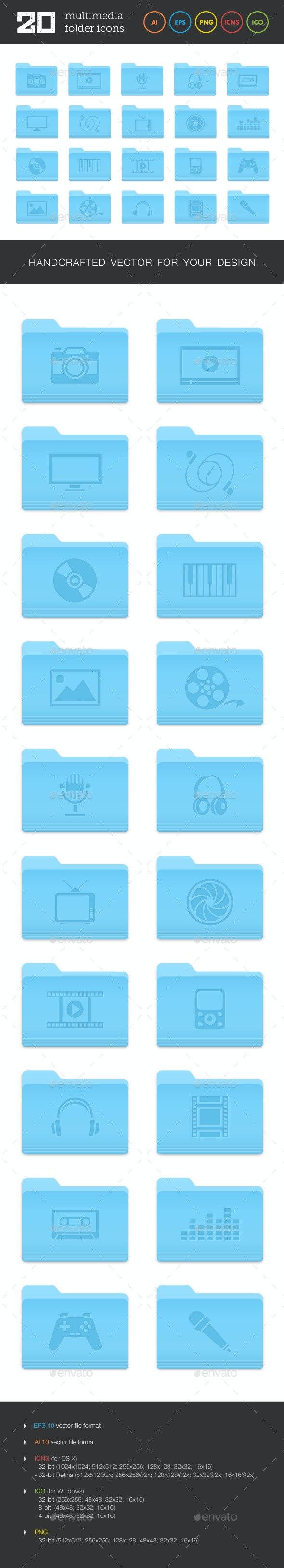 Multimedia Folder Icons Set - Media Icons