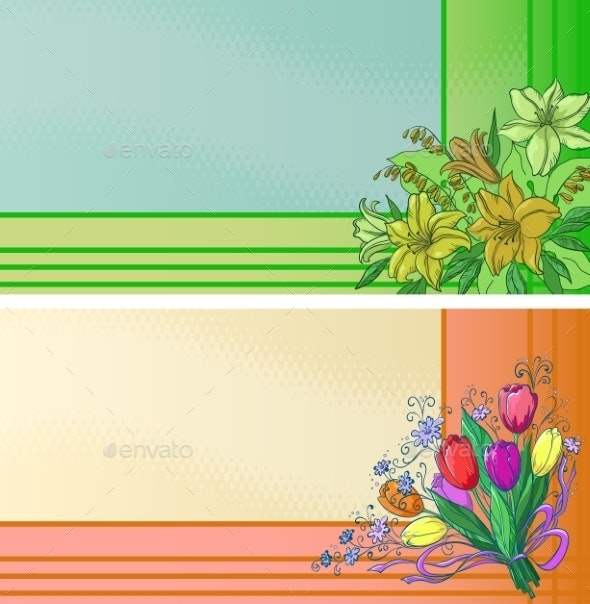 Business Cards with Flowers - Patterns Decorative