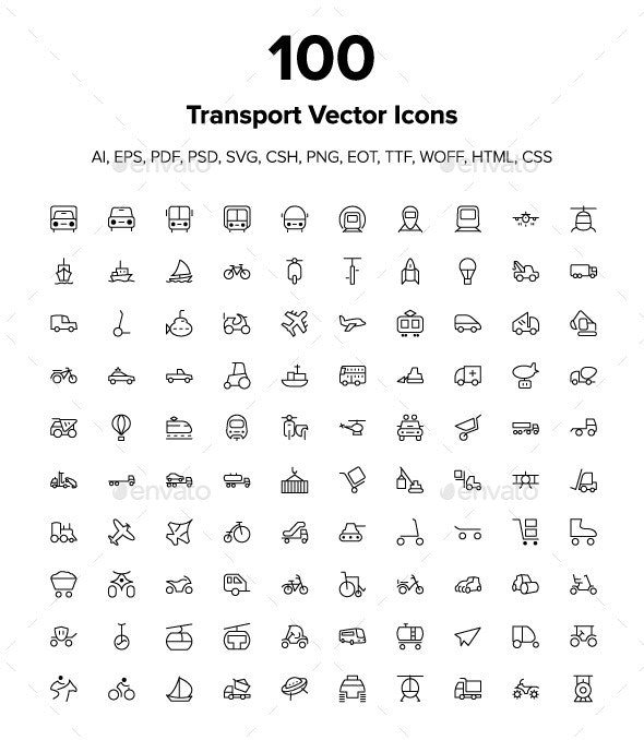 100 Transport Icons - Icons