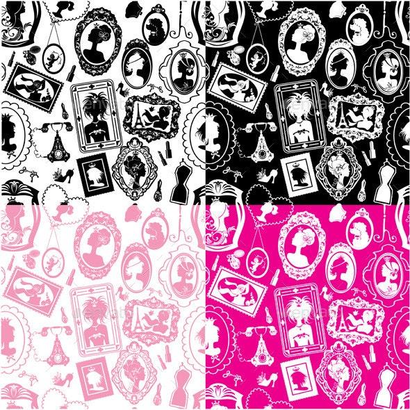 Set of Seamless Glamour Girl Patterns  - Patterns Decorative