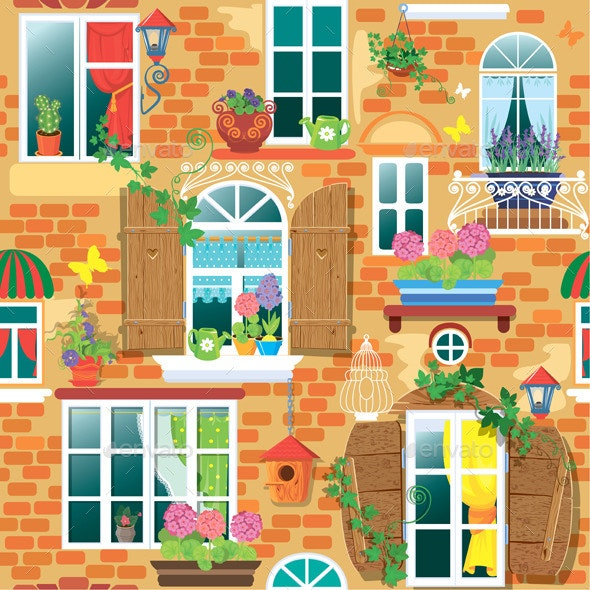 Seamless Pattern with Windows and Flowers - Patterns Decorative