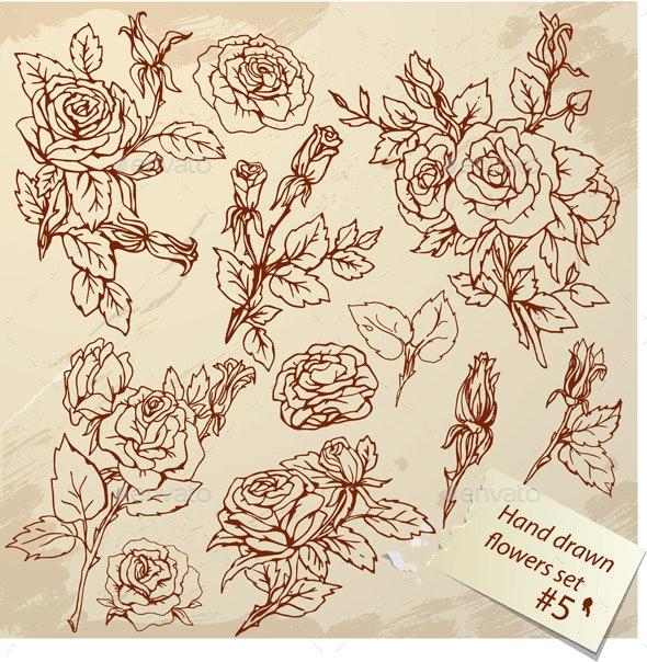 Set of Vintage Realistic Graphic Flowers - Flowers & Plants Nature