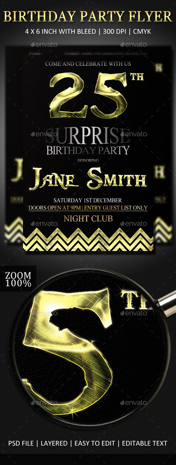 Birthday Party Invitation Flyer - Clubs & Parties Events