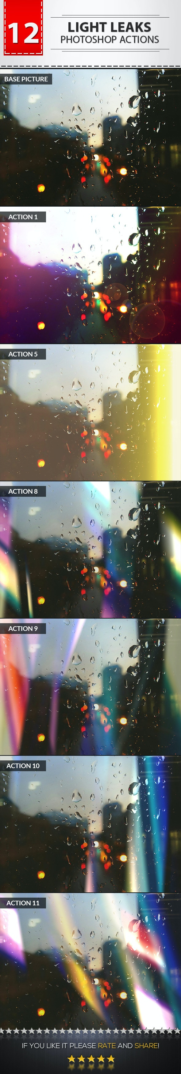 12 Light Leaks Photoshop Actions No.02 - Photo Effects Actions
