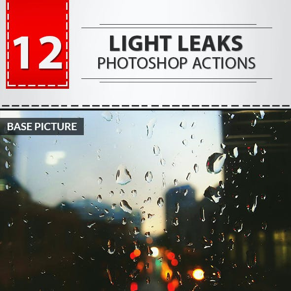 12 Light Leaks Photoshop Actions No.02