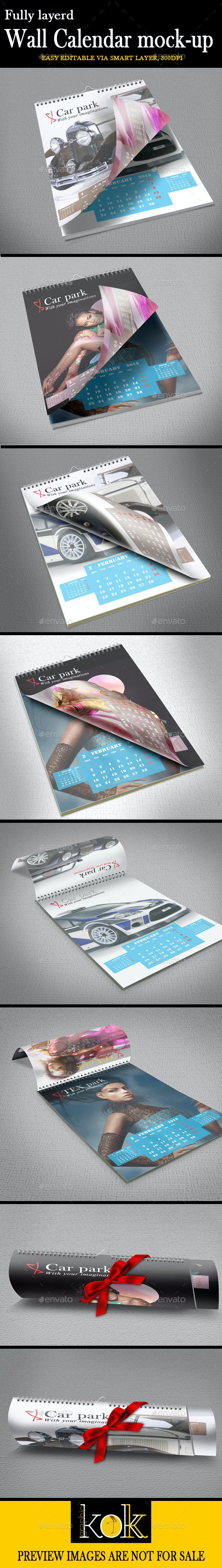 Wall Calendar Mockup - Product Mock-Ups Graphics