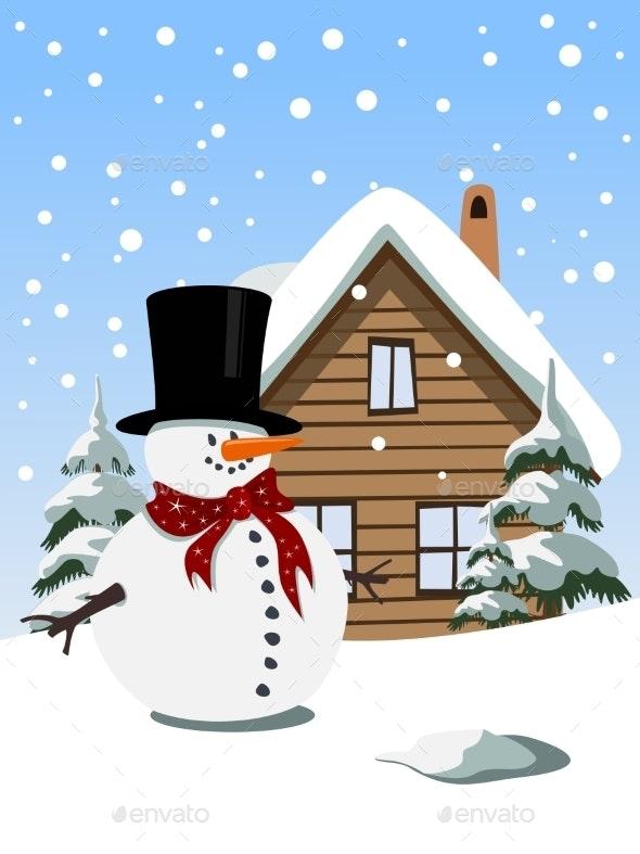 Christmas Background with Snowman - Christmas Seasons/Holidays