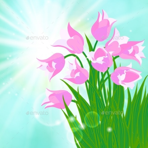 Spring Card Background with Sun and Tulips - Seasons Nature