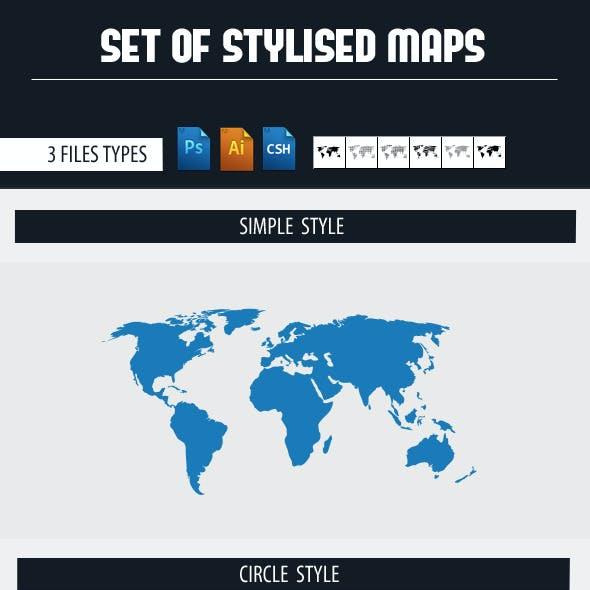 Set Of Maps Shapes