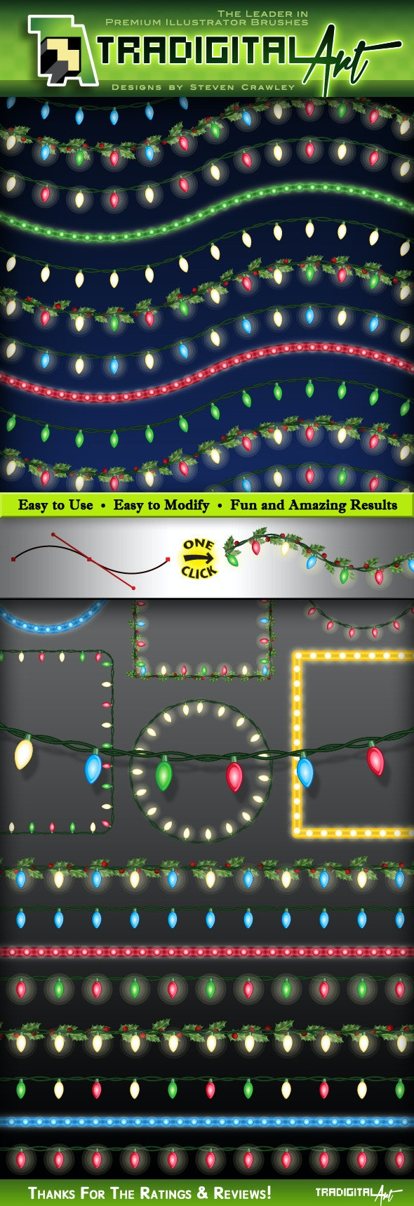 Christmas Lights Brushes Set 2
