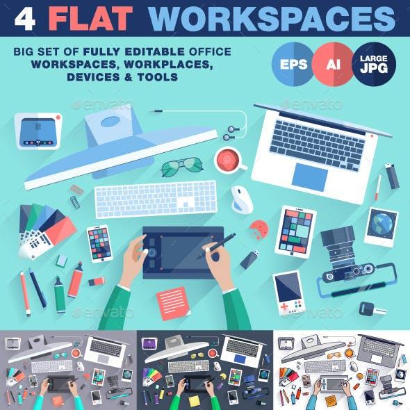 Creative Office Workspace Flat Design