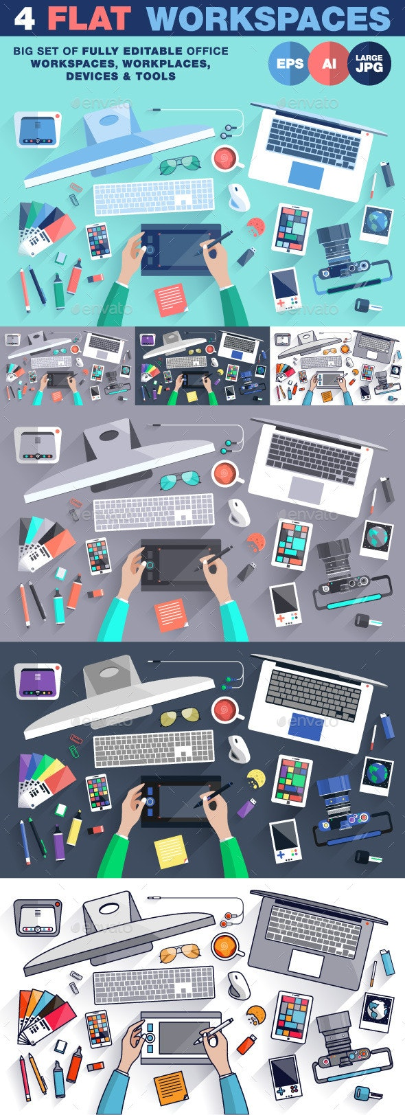 Creative Office Workspace Flat Design - Objects Vectors