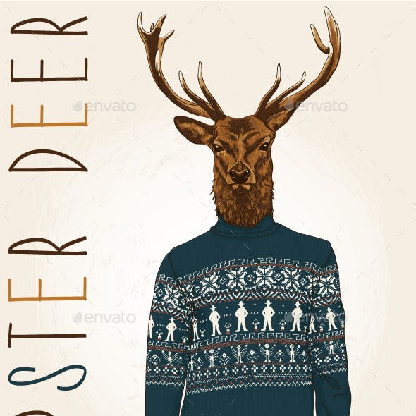 Hipster Deer in Sweater with People