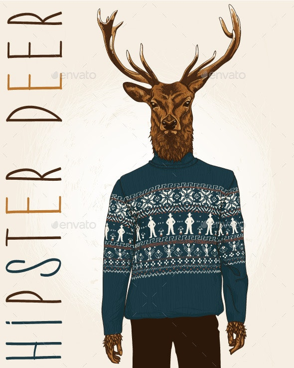 Hipster Deer in Sweater with People - Objects Vectors