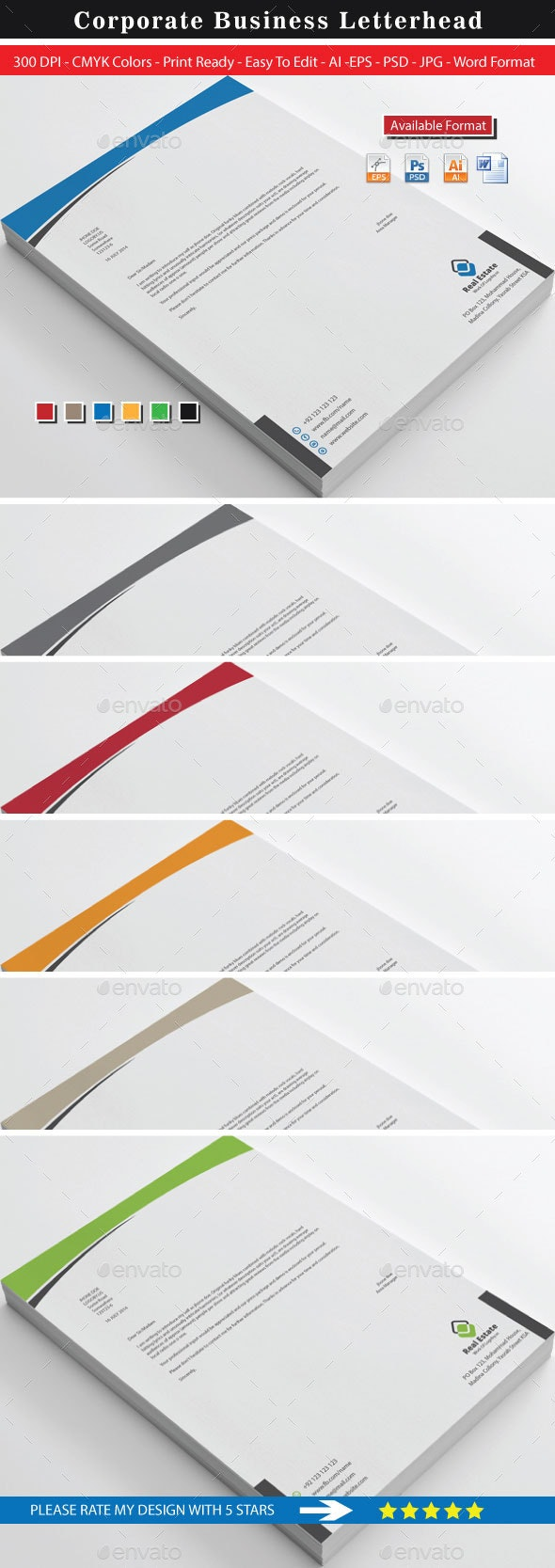 Real Estate Business Letterhead - Stationery Print Templates