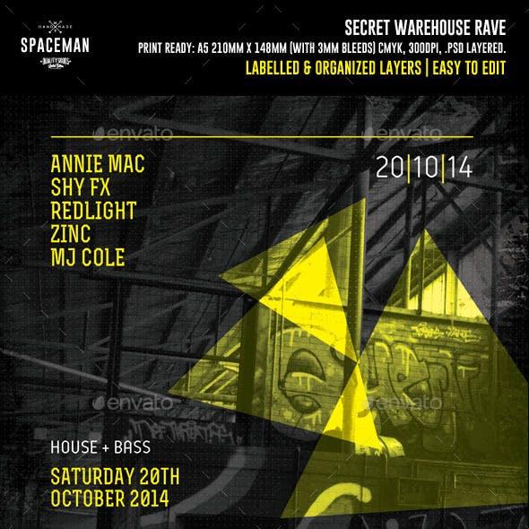 Secret Warehouse Rave Flyer