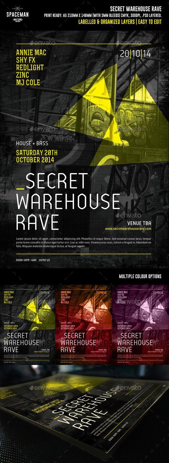 Secret Warehouse Rave Flyer - Clubs & Parties Events
