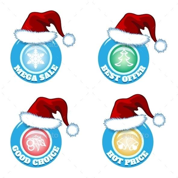 Seasonal Badges with Santa Hats - Retail Commercial / Shopping