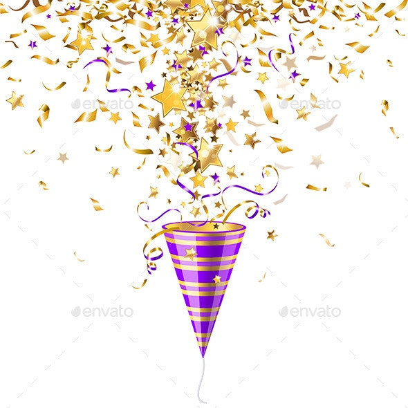 Party Popper with Confetti - Seasons/Holidays Conceptual