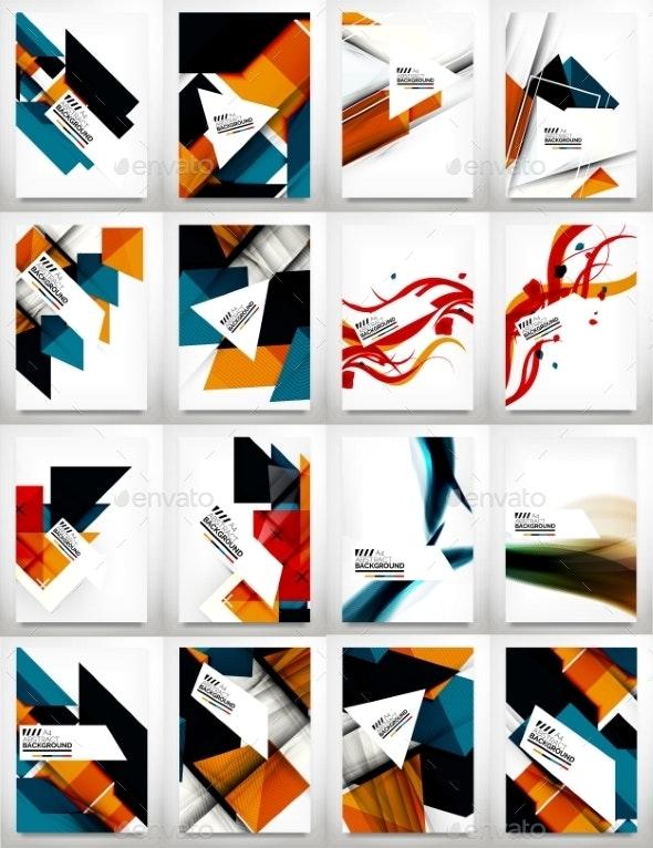 Flyers, Brochure Design Template Set - Backgrounds Decorative