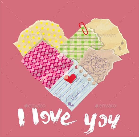 Scrapbooking Heart is made of Vintage Old Paper - Valentines Seasons/Holidays