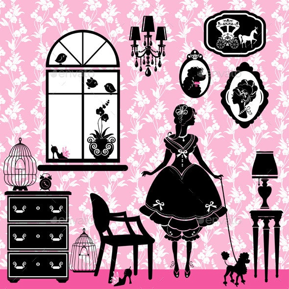 Princess Room with Glamour Accessories Furniture - People Characters