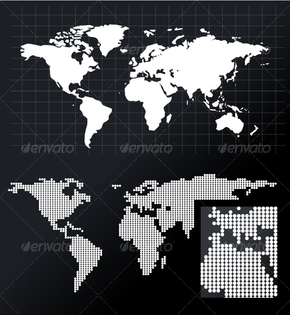 World Map  - solid and dotted version included - Backgrounds Decorative