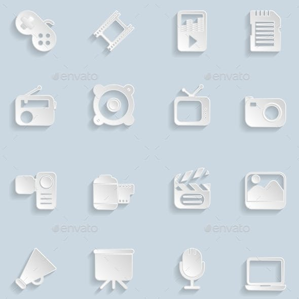 Paper Multimedia Icons