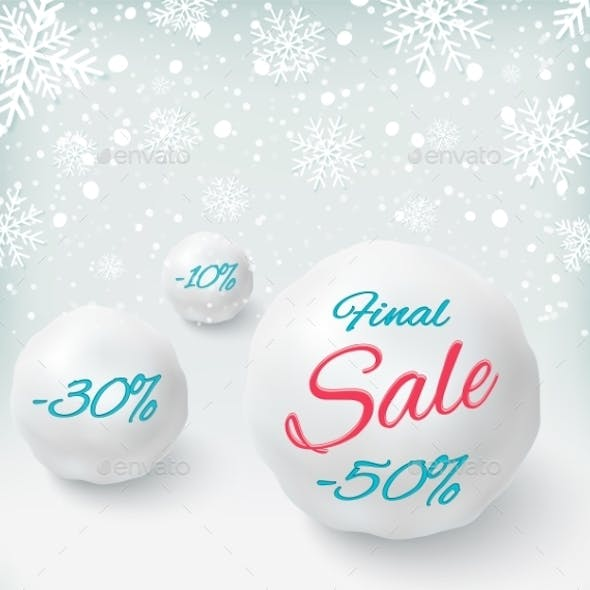 Final Sale Background with Snowballs and Snow