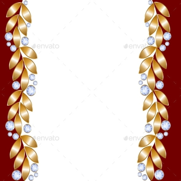 Greeting Card with Golden Leaves - Backgrounds Decorative