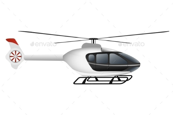 White Modern Helicopter. - Travel Conceptual