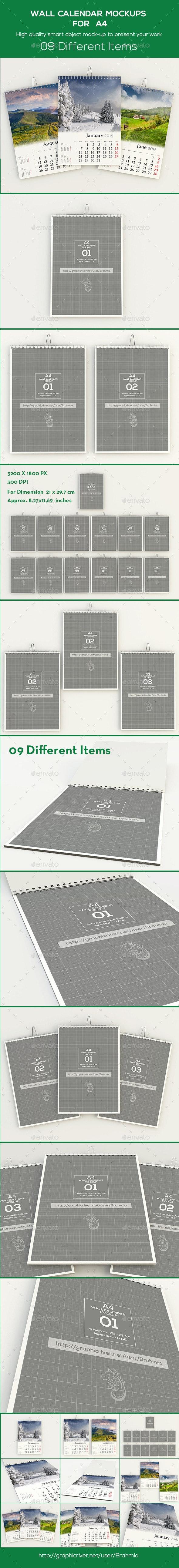 Wall Calendar Mockups For A4 - Miscellaneous Print