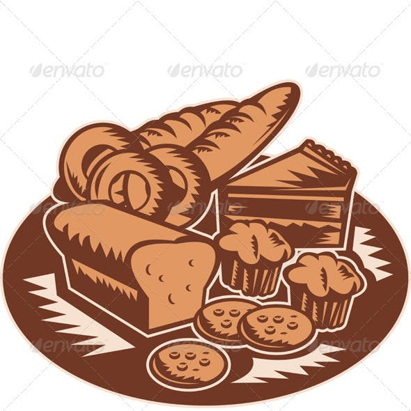 Plate Full of Pastries and Bakery Products Woodcut